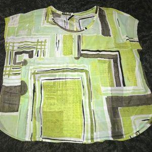 Lane Bryant lime green black sheer tunic 18/20